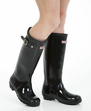 Womens Wellies - Ladies Glossy Black Wellington Boots - Size 3 UK - EU 36