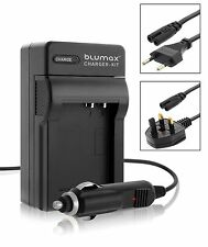 Camera Battery Mains and Car Charger with UK EU Plugs for Casio NP-60 NP60
