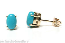 9ct Gold Stud Earrings Turquoise Gift Boxed Made in UK