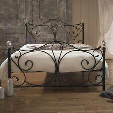 Double Size Metal Bed Frame And Mattress Black Elegant Scrollwork Design Bedroom