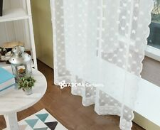 Heart Lace Sheer Curtain (WHITE) 150(W) x 230(L)cm