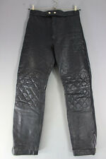 VINTAGE CITY STYLE BLACK LEATHER BIKER TROUSERS: WAIST 30 IN/INSIDE LEG 30.5 IN