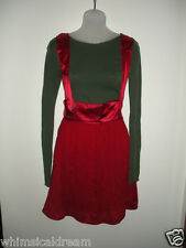Diesel 'Martinaf' red suspender dress / skirt Size 28 M designer silk & viscose