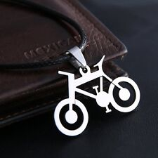 FASHION NEW STYLE SILVER STAINLESS STEEL LEATHER BICYCLE NECKLACE JEWELLERY GIFT