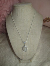 ~ Natural Moonstone Gemstone Pendant & Silver Plated Chain ~ Pretty Mount  ~