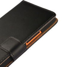 For Nokia Lumia 640 XL Black Genuine Leather Business Wallet Card Case Cover