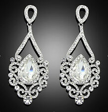 18K Big Clear Crystal Swarovski Elements Rhinestone Drop Earrings In Gift Box