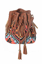 Womens Fringed Brown Duffle Bag Boho Print Aztec Faux Leather Tan Retro Festival