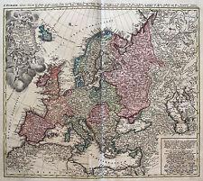 Homann: Original altkol. Kupferstich Landkarte Europa Europe Polen Italien; 1789