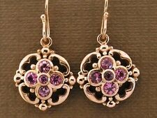 E024- Genuine SOLID 9ct Rose Gold NATURAL Pink Tourmaline Blossom Drop Earrings