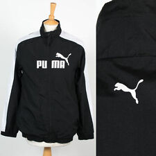 MENS PUMA BLACK WITH WHITE TRIM LIGHTWEIGHT WINDBREAKER TRACKSUIT TOP JACKET L