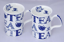 "Pair of Attactive Fine Bone China Lancaster Mugs in the ""English Tea"" Design"