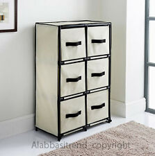Canvas 6 Drawer Storage Home Office Paper Clothes Books Organiser Unit Beige NEW