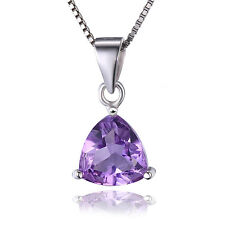 JewelryPalace Natural Amethyst 925 Sterling Silver Pendant Necklace 16 Inches