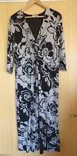 Per Una Ladies Dress Size 18 L Black Grey Floral Jersey Work Smart Office