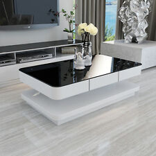 BN WHITE COFFEE TABLE WITH BLACK TEMPERED HIGH GLOSS GLASS