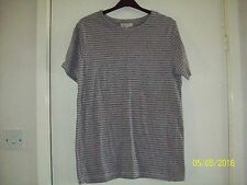 Mens River Island, Short Sleeved, Grey Striped T Shirt size S