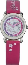 Hello Kitty Pink Time Teacher Easy Read Analogue Watch-Clear White Dial/ Glitter