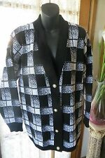 VINTAGE ~  Black/White Check CARDIGAN * Size L * POSTAGE 50% Off !!