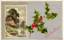 GB 1910, Weihnachten/Greeting Sincere. Christmas, schöne silberfarbige Präge-AK