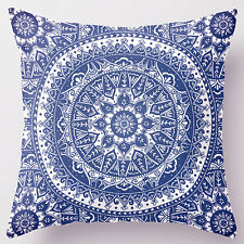 18'' Super Soft Cotton Velvet Blue & White Floral Pillow Case Cushion Cover RC18