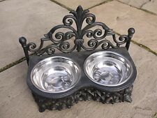 CAST IRON ANTIQUE STYLE PET DOG CAT FEEDER DISH 2 STAINLESS STEEL BOWLS