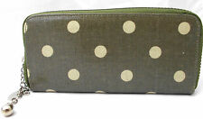 Ladies/Girls Purse, Olive colour with Polka dots Zipper purse.