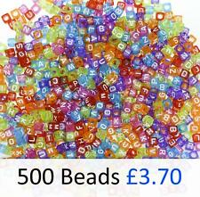 500 Transparent Cube Alphabet Beads 6 x 6mm Mixed Letters