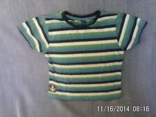 Boys 3-4 Years - Blue, Green & White Striped T-Shirt - TU