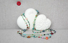 Long Length Beaded Necklace With Coloured Stones   Fast & Free Delivery