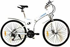 WHITE TRAKBIKE ALTITUDE - Compact Folding Portable 21 SP SHIMANO Mountain Bike