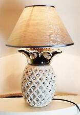 WHITE & SILVER CERAMIC PINEAPPLE BEDSIDE TABLE LAMP CRYSTAL DIAMANTE DECOR