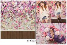 5X7ft Fotografie Hintergrund Blumen-Wand Holzboden Hintergrund Studio Props