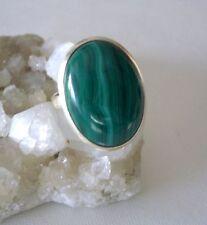 Ring mit Malachit, 925er Silber, Gr. 19,4