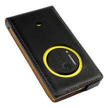 Black Genuine Leather Real Leather Classic Flip Case Cover for Nokia Lumia 1020
