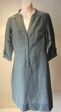 Monsoon ~ linen/cotton shirt dress pale khaki green utility style ~ 12