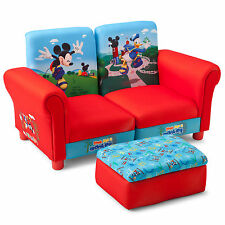 NEW DELTA DISNEY MICKEY MOUSE 3 PIECE UPHOLSTERED CHAIRS / SOFA & FOOTSTOOL SET