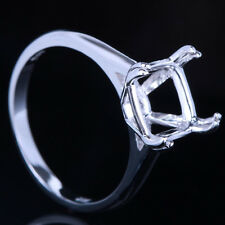 Sterling Silver Engagement Wedding Ring Setting 9mm Cushion Semi Mount Ring 6.5#