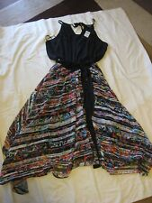 BNWT city chic Dress size M black with colour bottom below knee