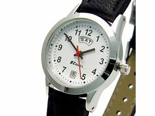 Ravel Mens Day/Date Watch Black Strap & Numbers on White Face