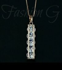 18ct Rose Rolled Gold Plated 5 pcs Swiss Cubic Zirconia Pendant necklace 4,
