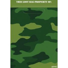 Camouflage Army Party Supplies Loot Bags Lolly Bags Pack Of 8 Genuine Licensed