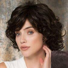 100% Echthaar! Kurz Gelockt Dunkelbraun Perücke Menschliches Haar Perücke 065