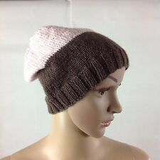 Women's Hand Knitted 100% Pure Wool Beanie Brown & Pink