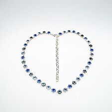 Halskette Collier Tennis 925 Versilbert mit Swarovski® Kristallen Statement Blau