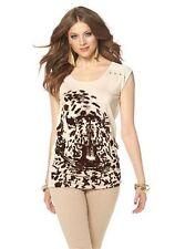 T-Shirt - Longshirt - Gr. 38 - beige - Tiermotiv im Flockprint - Jersey - Top