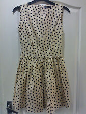 LOVELY SPOTTED PEACH COLOURED DRESS, SIZE 8 **VGC**