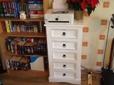 Corona pine mexican handpainted Narrow white Chest Of Five Drawers