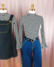 Black & White Striped Ribbed Trumpet Sleeve Long Sleeve Top Fitted Size 10-12