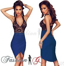 Womens Midi Dress Bodycon Black Blue Party Pencil Wiggle Floral Lace.Size 8 10 S